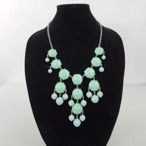 Jewelry - Statement Necklace Blue Green Big Chunky Gaudy Sil